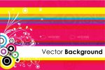 Multicoloured Background with Stripes, Circles and Floral Design